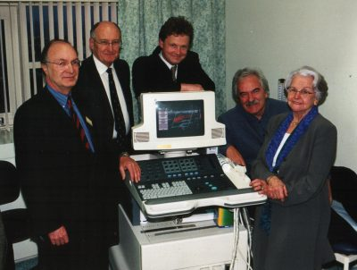 Desmond Lynam pictured with the Trustees of the Sussex Stroke and Circulation Fund